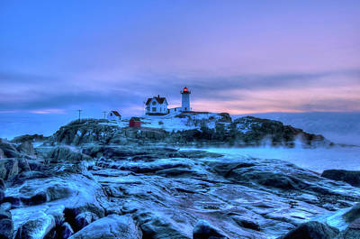 Nubble Lighthouse Sunrise - York, Maine Art Print by Joann Vitali