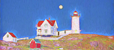 Coastal Maine Digital Art - Nubble Lighthouse With Moon by David Smith
