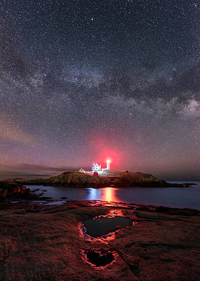 Nubble Night - Vertical Print by Michael Blanchette