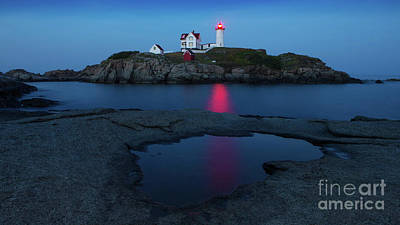 Cape Neddick Lighthouse Digital Art - Nubble Puddle by Jerry Fornarotto
