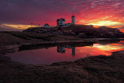 Nubble Lighthouse Photograph - Nubble Reflection by Jeff Bazinet