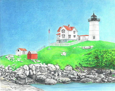 Nubble Lighthouse Drawing - Nubble by Troy Levesque