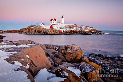 Nubble Winter Dusk Art Print by Susan Cole Kelly
