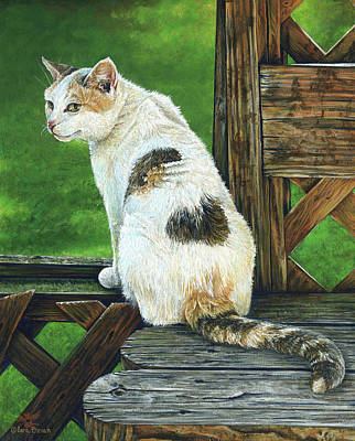 Calico Cat Painting - Nubby by Cara Bevan