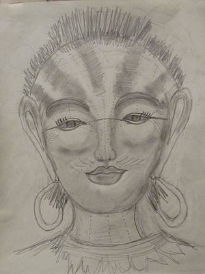 Drawing - Nubian Goddess Of The Pharaohs by Sharyn Winters