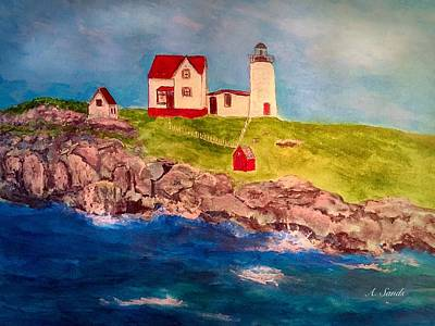 Nubble Lighthouse Painting - Nubble Lighthouse by Anne Sands