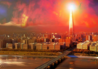 Digital Art - Nuclear Sky Over Seoul by Mario Carini