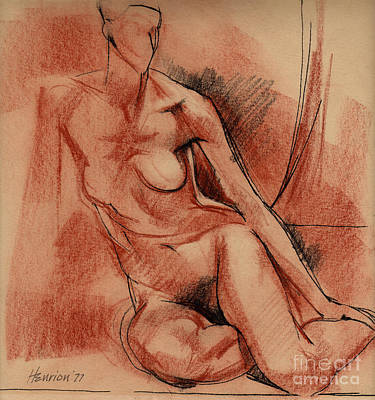 Female Nude Drawing - Nude 007 by Edward Henrion