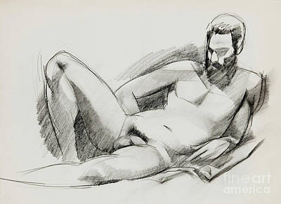 Male Nude Drawing Drawing - Nude 020 by Edward Henrion