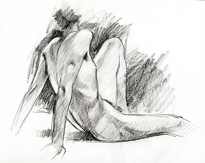 Male Nude Drawing Drawing - Nude 023 by Edward Henrion