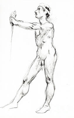 Male Nude Drawing Drawing - Nude 1016 by Edward Henrion