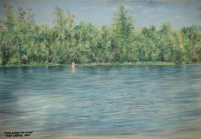 Nude Across The River Art Print by Larry Whitler