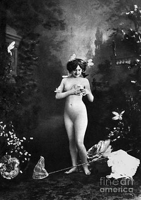 Painting - Nude And Butterflies, C1900 by Granger