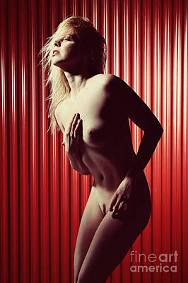 Photograph - Nude And Very Beautiful Woman Posing On Red Background by William Langeveld