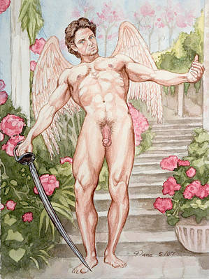 Physique Painting - Nude Angel In Rose Garden by The Artist Dana