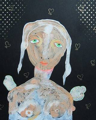 Primitive Raw Art Painting - Nude Angel With Green Eyes by Bea Roberts