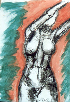 Nude Arms Up Art Print by B and C Art Shop