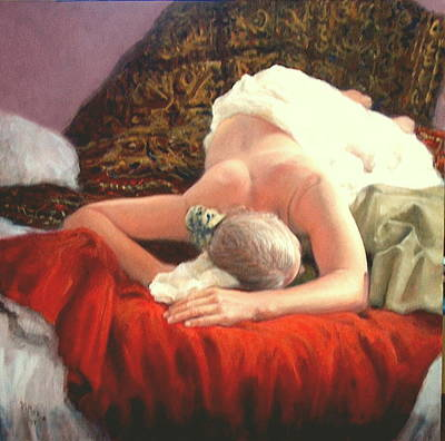 Art Print featuring the painting Nude At Rest 1 by Donelli  DiMaria