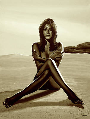 Los Angeles Mixed Media - Nude Beach Beauty Sepia by Paul Meijering
