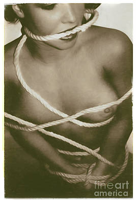 Submissive Women Art Photograph - Nude Bound In Sepia by Robert Gaines