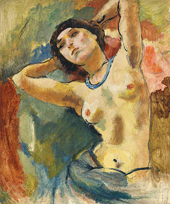 Nude. Brunette With Blue Necklace  Art Print by Jules Pascin
