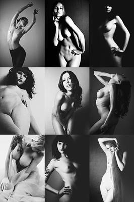 Nude Bw Collage  Art Print by Falko Follert