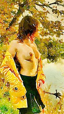 Pussy Painting - Nude By Lake By Js by Esoterica Art Agency