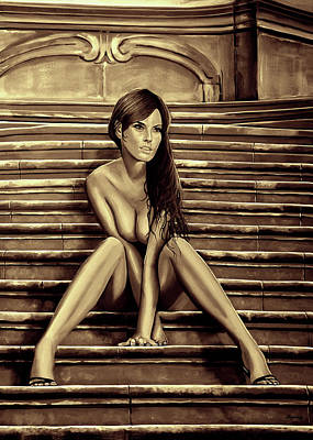 Female Mixed Media - Nude City Beauty Sepia by Paul Meijering