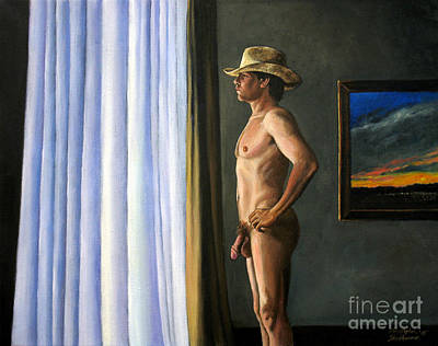 Painting - Nude Cowboy Delight In Looking Out by Christopher Shellhammer