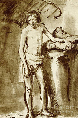 Thought Drawing - Nude Drawing For A Youth by Rembrandt Harmensz van Rijn