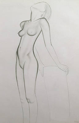 Nudes Drawing - Nude by Eric Gill