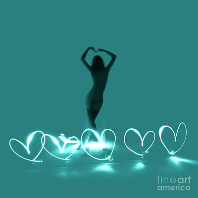 Photograph - Experimental Nude Light Drawing Love Hearts by Clayton Bastiani