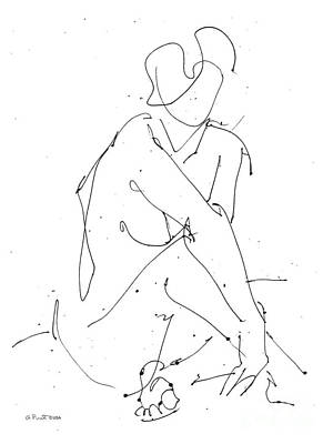 Drawing - Nude-female-drawing-19 by Gordon Punt