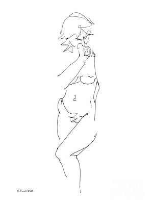 Nude Female Drawings 18 Art Print