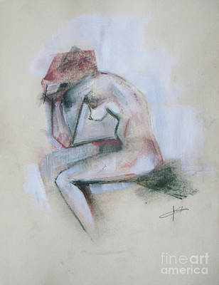 Figure Mixed Media - Thoughtful by Vesna Antic