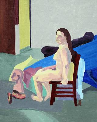 Nude Female In Red Chair Art Print by Sheri Buchheit