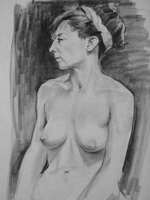 Drawing - Portrait Of Nude Model With Headband  In Profile by Robert Holden