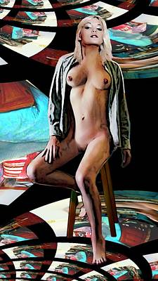 Painting - Nude Female Portrait Nikie Fractile by G Linsenmayer