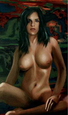 Art Print featuring the painting Nude Female Portrait Sara Seated Female Nude Torso by G Linsenmayer