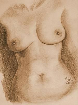 Nude Female Torso - Ppsfn-0002-in Sepia Print by Pat Bullen-Whatling