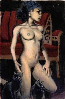 Art Print featuring the painting Nude Female Woman Kneeling With Cats by G Linsenmayer
