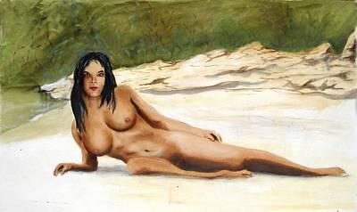 Painting - Nude Female Woman Sara Reclining Wiki Wachie Gulf Coast Florida by G Linsenmayer