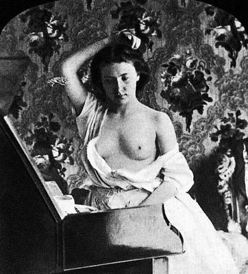 Photograph - Nude Fixing Hair, C1861 by Granger