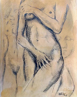 Drawing - Nude Girl - Figurative, Portraiture, Realism Drawing. Italian Renaissance by Alessandro Nesci