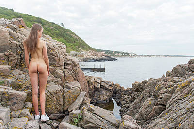 Nude Girl On Rocks Art Print