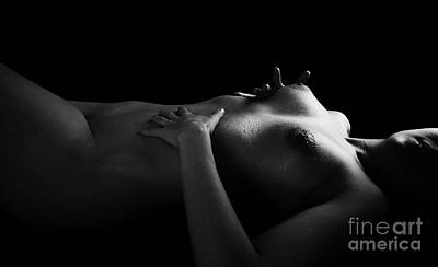 Nude Glistening With Water Spray On Bare Breasts - 3012bw Art Print by Cee Cee - Nude Fine Arts