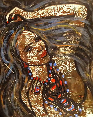 Long Necklace Painting - Nude Henna by Natalie Holland