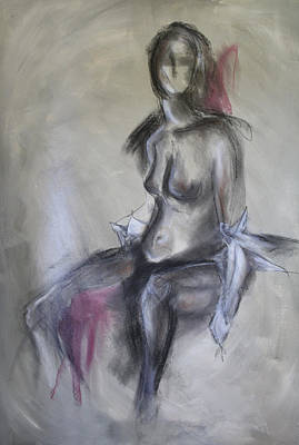 Nude In Black And Red Art Print by Sandra Taylor-Hedges