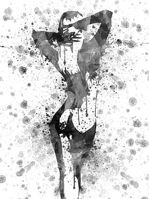 Colored Woman Art Drawing - Nude In Black And White by Aged Pixel