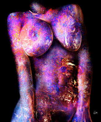 Digital Art - Nude In Flowers by Kim Gauge